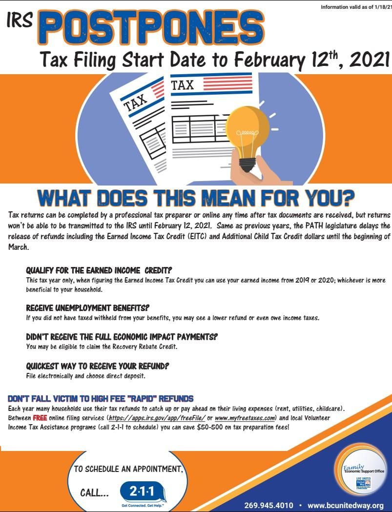 Tax File Start Date Postponed to Feb 12, 2021