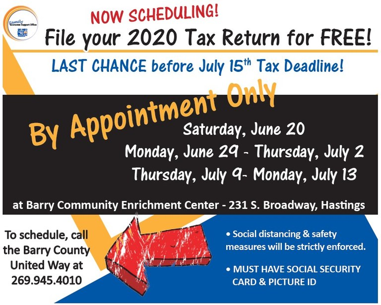VITA Tax Assistance June-July 2020